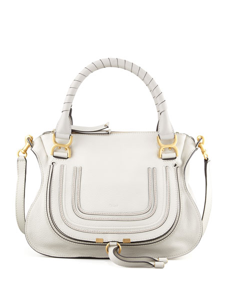 Marcie Medium Satchel Bag, Off White