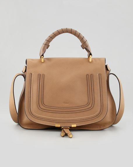 Marcie Medium Satchel Bag with Shoulder Strap, Tan