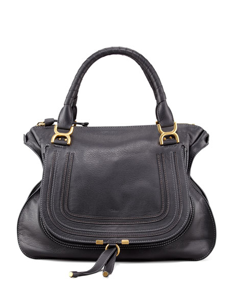 Marcie Large Leather Satchel Bag, Black
