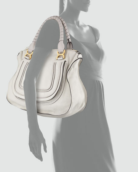 Marcie Large Shoulder Bag, Off White