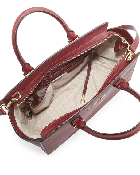 Large Selma Top-Zip Saffiano Satchel