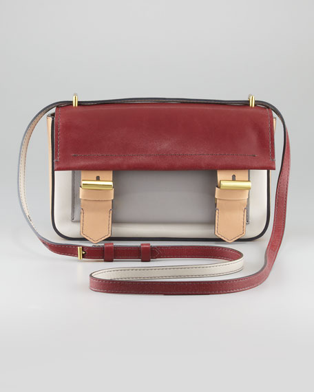 Academy Leather Crossbody Bag, Almond/Auburn