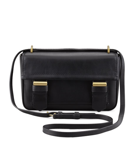 Academy Leather Crossbody Bag, Black