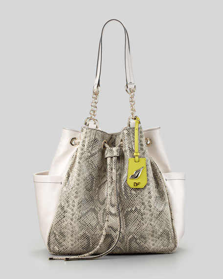 Sydney Python-Embossed Cinch Tote Bag