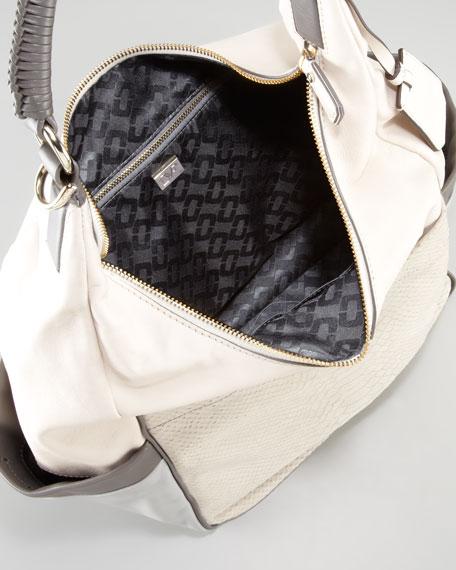 Franco Python-Embossed Nubuck Hobo Bag, White/Gray