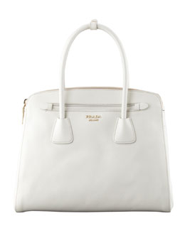 Prada Saffiano Cuir Large Double-Zip Tote Bag, White