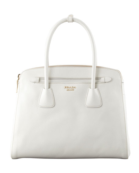 Saffiano Cuir Large Double-Zip Tote Bag, White (Talco)