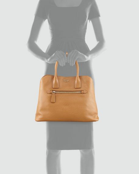 Saffiano Cuir Open Promenade Tote Bag, Brown (Caramel)