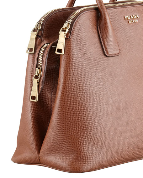 Soft Saffiano Triple-Zip Satchel Bag, Brown (Palissandro)