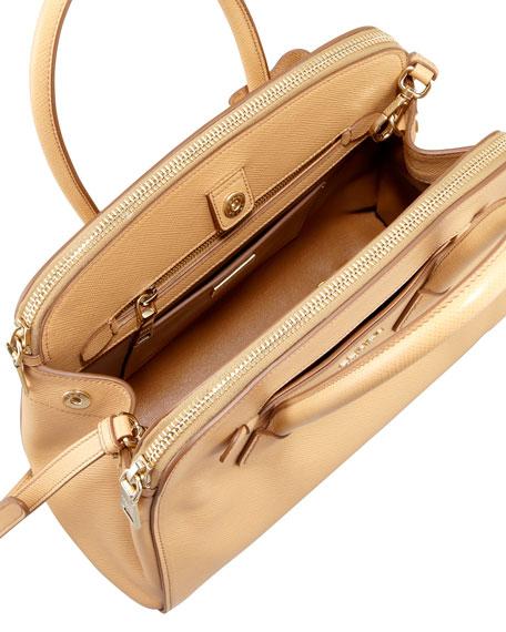 Saffiano Cuir Double-Zip Tote Bag, Beige (Noisette)