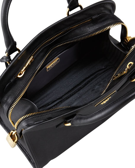 Saffiano Soft Triple-Zip Satchel Bag, Black