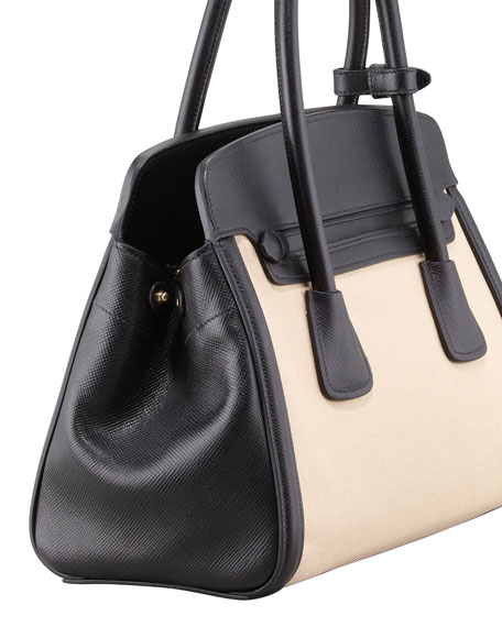 Canvas & Saffiano Cuir Small Tote Bag, Natural/Black