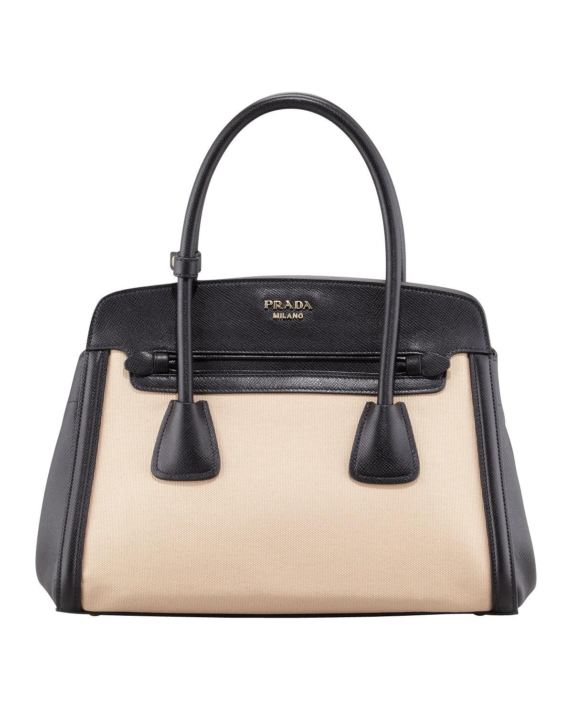 fff2b0bef5b80a Prada Canvas & Saffiano Cuir Small Tote Bag, Natural/Black   Neiman ...