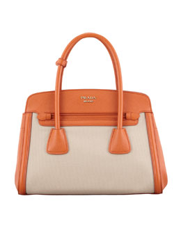 Prada Canvas & Saffiano Cuir Small Tote Bag, Orange
