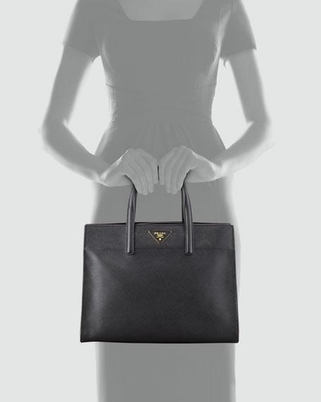 Saffiano Soft Triple-Pocket Tote Bag, Black (Nero)