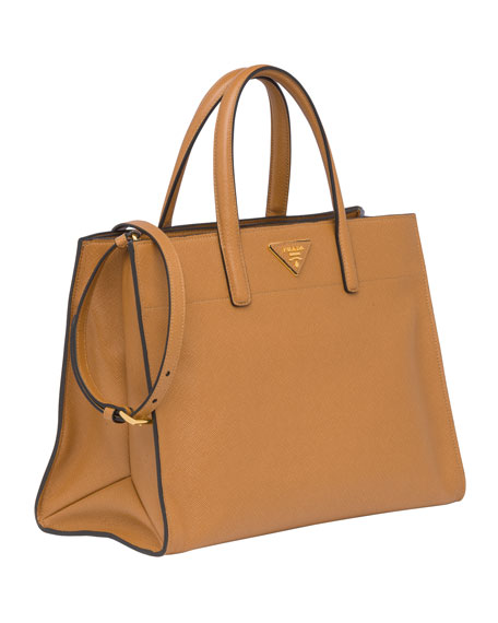 Saffiano Soft Triple-Pocket Tote Bag, Brown (Caramel)