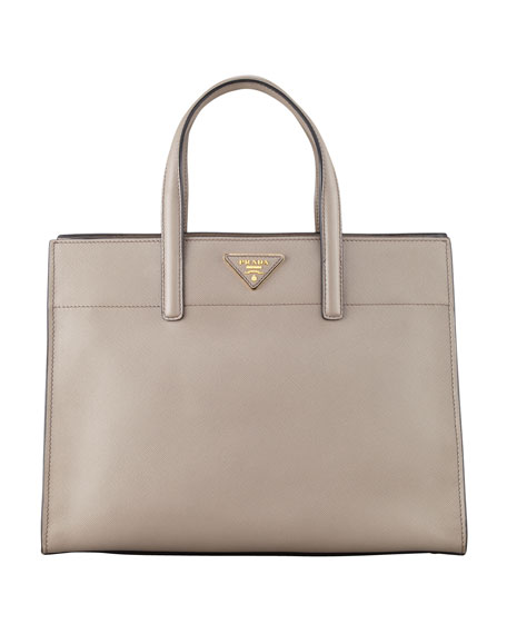 Saffiano Soft Triple-Pocket Tote Bag, Gray (Argilla)