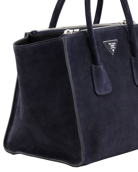 Prada Suede Twin Pocket Tote Bag, Navy (Bleu)