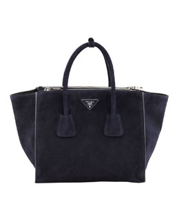 Prada Suede Twin Pocket Tote Bag, Navy