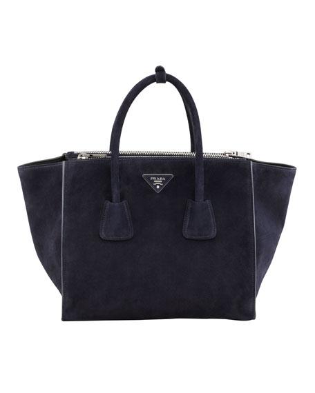 Suede Twin Pocket Tote Bag, Navy (Bleu)