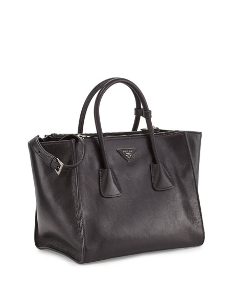 Glace Calf Twin Pocket Tote Bag, Black (Nero)
