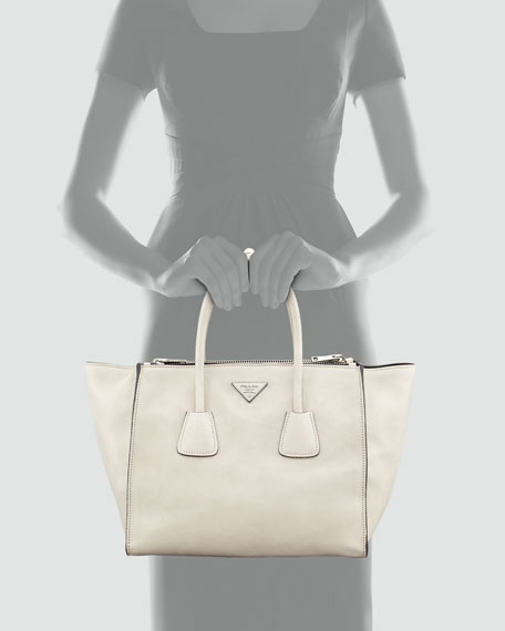 Glace Calf Twin Pocket Tote Bag, Off White (Ghiaccio)