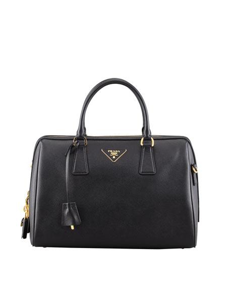 Saffiano Bowler Bag with Strap, Black (Nero)
