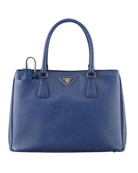 Prada Saffiano Small Gardener's Tote Bag, Blue (Bluette)