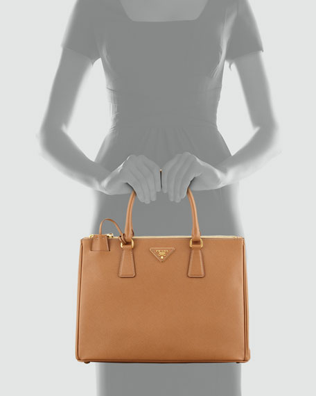 Saffiano Double-Zip Executive Tote Bag, Brown (Caramel)