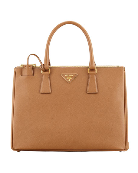 PradaSaffiano Double-Zip Executive Tote Bag, Brown (Caramel)