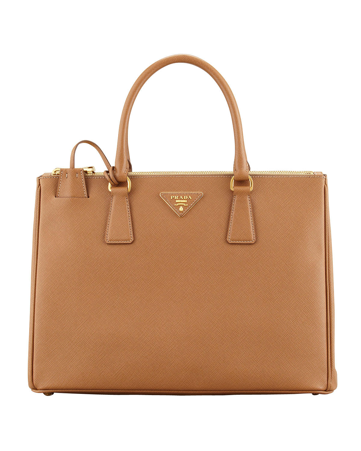 4b0e30b63cdf Prada Saffiano Double-Zip Executive Tote Bag, Brown (Caramel ...