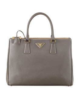 Prada Saffiano Double-Zip Executive Tote Bag, Gray (Argilla)