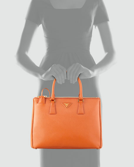Prada Saffiano Double-Zip Executive Tote Bag, Orange (Papaya)