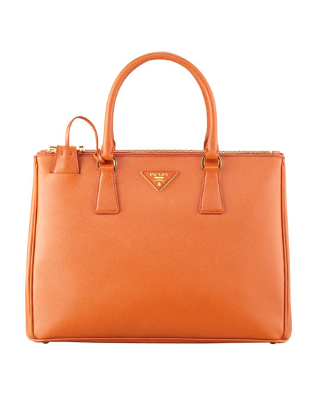 Prada Saffiano Double-Zip Executive Tote Bag, Orange (Papaya)