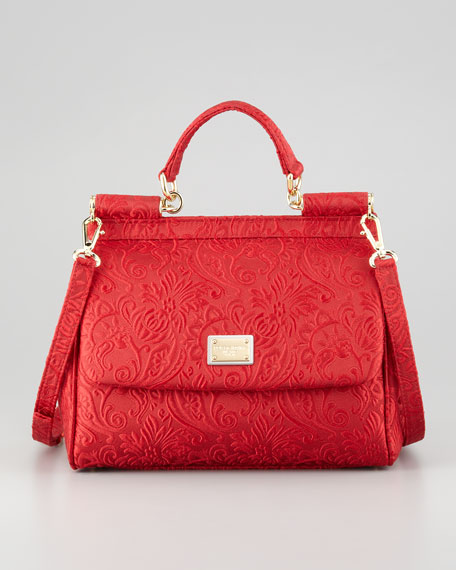 Miss Sicily Brocade Flap Bag, Red