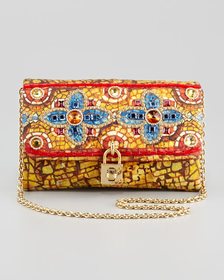 Miss Dolce Floral-Beaded Clutch Bag,