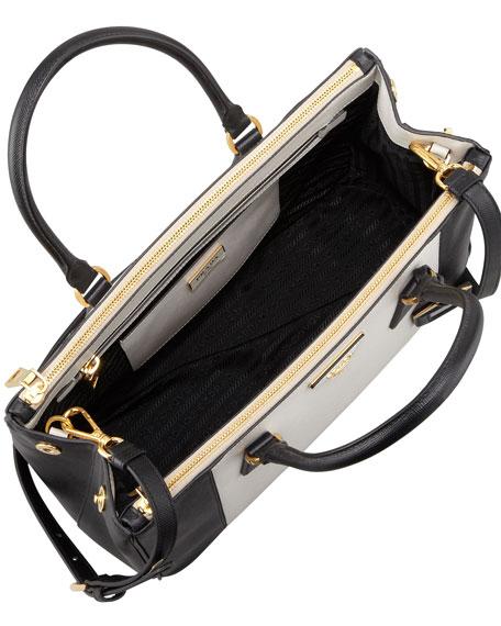 Bicolor Saffiano Double-Zip Tote Bag, Black/White