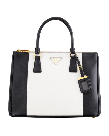 prada handbags purses - Prada Bicolor Saffiano Double-Zip Tote Bag, Black/White