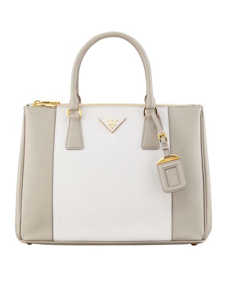 Prada Bicolor Saffiano Double-Zip Tote Bag, Gray/White