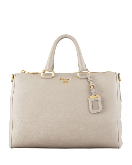 Prada Daino Zip-Top Tote Bag, Light Gray (Pomice)