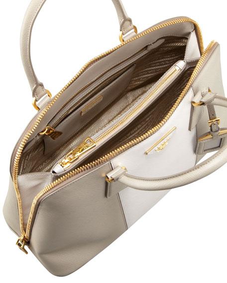 Bicolor Saffiano Promenade Bag, Gray/White