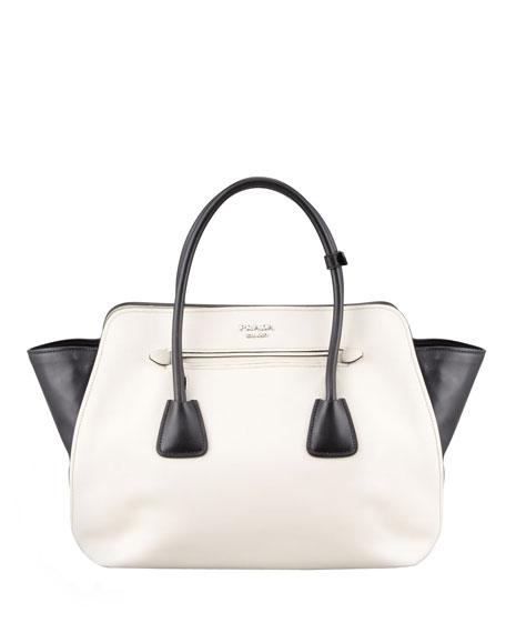 Bicolor Soft Calfskin Tote Bag, White/Black (Talco+Nero)