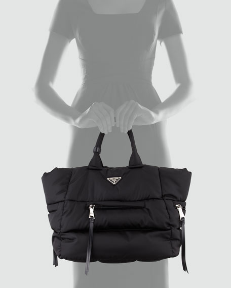 Tessuto Bomber Horizontal-Zip Tote Bag, Black (Nero)