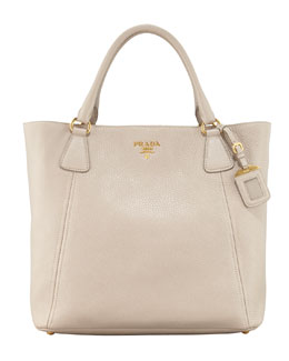 Prada Daino Snap-Top Tote Bag, Light Gray