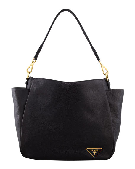 Daino Double-Pocket Hobo Bag, Black