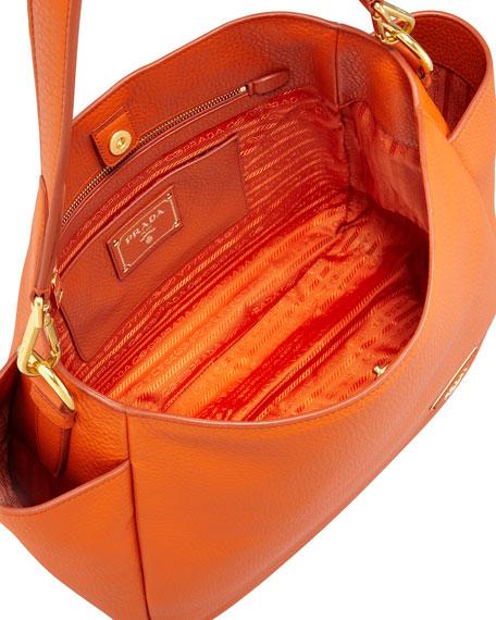 Daino Double-Pocket Hobo Bag, Orange