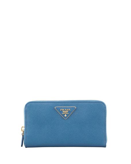 Saffiano Triangle Zip-Around Wallet, Cobalt (Cobalto)