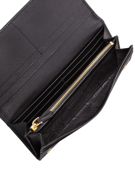 black saffiano leather bag - Prada Saffiano Triangle Continental Flap Wallet, Black (Nero)