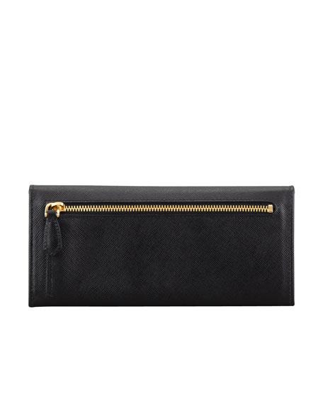 Saffiano Triangle Continental Flap Wallet, Black (Nero)