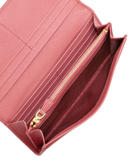Saffiano Triangle Continental Flap Wallet, Pink